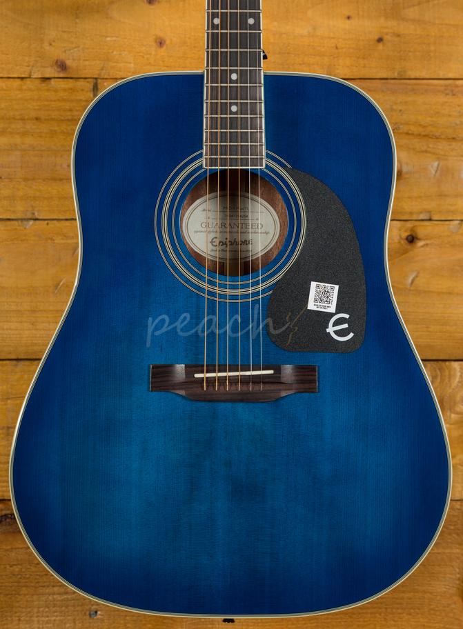 epiphone pro 1 plus trans blue acoustic guitar peach guitars. Black Bedroom Furniture Sets. Home Design Ideas