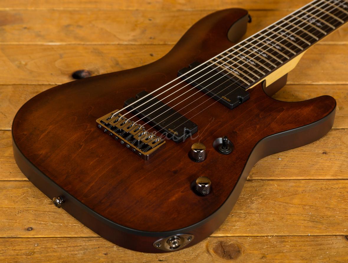 schecter omen 8 walnut satin 8 string guitar peach guitars. Black Bedroom Furniture Sets. Home Design Ideas