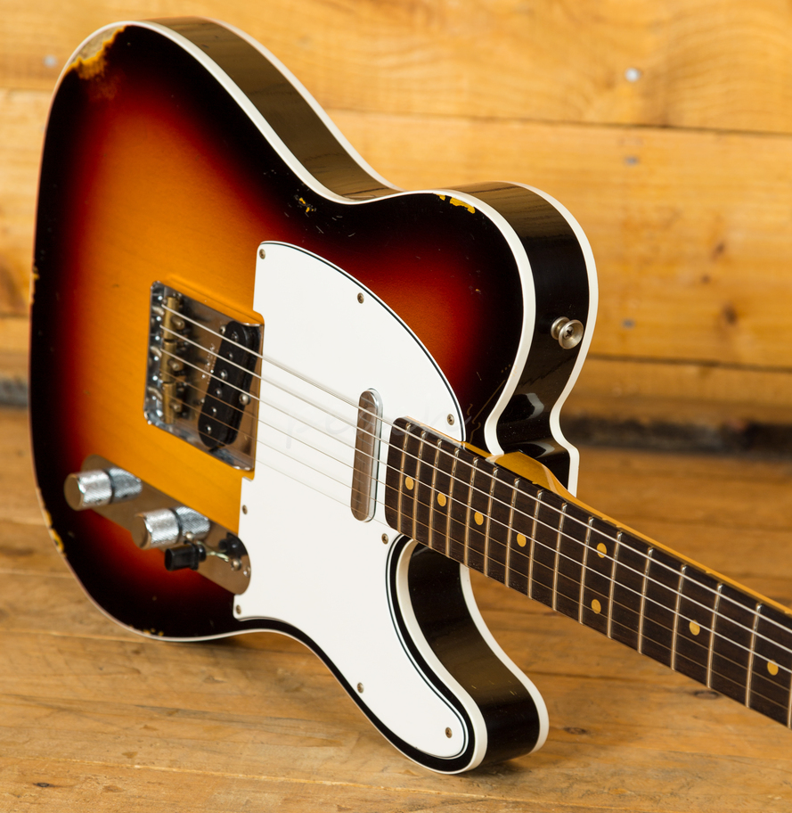 fender custom shop 60 tele custom relic 3 tone burst peach guitars. Black Bedroom Furniture Sets. Home Design Ideas