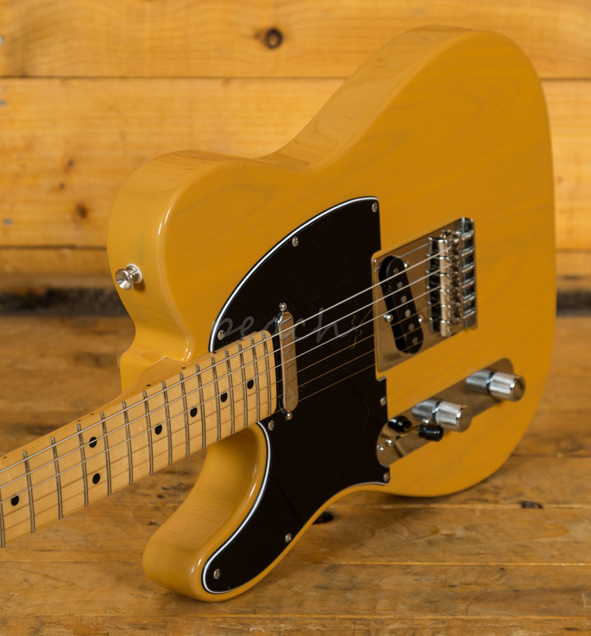 fender player tele left handed maple neck butterscotch peach guitars. Black Bedroom Furniture Sets. Home Design Ideas