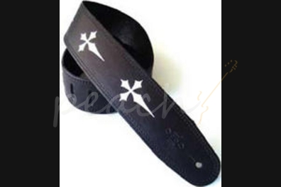 """DSL MC25-15-1 Leather 2.5"""" Black with silver gothic cross"""