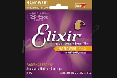 Elixir E16077 Phosphor Bronze Nanoweb - Medium light - 12-56