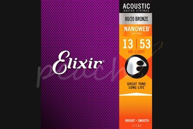 Elixir Acoustic 80/20 Bronze Nanoweb Strings - 13-53 (HD Light)