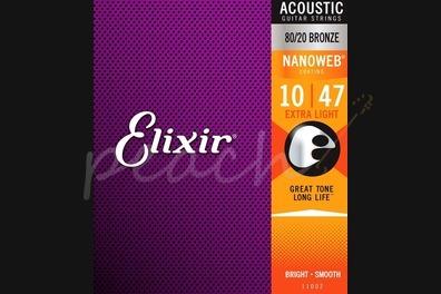Elixir Acoustic 80/20 Bronze Nanoweb Strings - 10-47 (Extra Light)