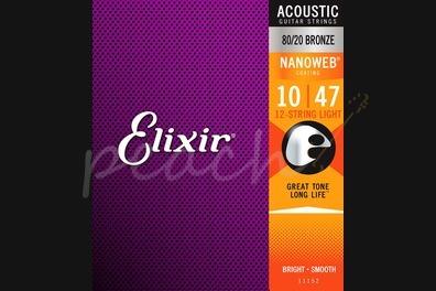 Elixir Acoustic 80/20 Bronze Nanoweb 12-String Strings - 10-47 (Light)