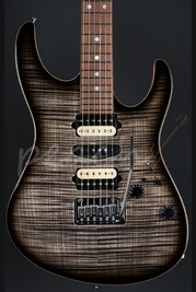 Suhr Modern GG Spec Trans Charcoal Burst with a natural back