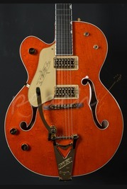Gretsch G6120 Chet Atkins Hollowbody Left Handed Orange Stain
