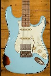Xotic California Classic XSC-2 Sonic Blue Over 3 Tone Sunburst Heavy Aged