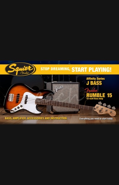 Squier Start Playing P-Bass Brown Sunburst Pack With Rumble 15 Amp