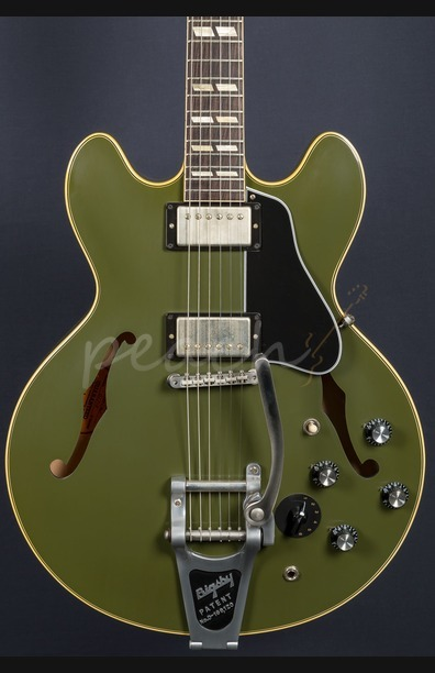 Gibson Memphis 1964 ES-345 Mono Varitone Olive Drab Green w/ Bigsby
