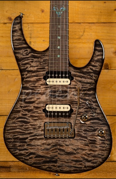 Suhr Modern Carve Top Suhr Select Trans Charcoal Burst